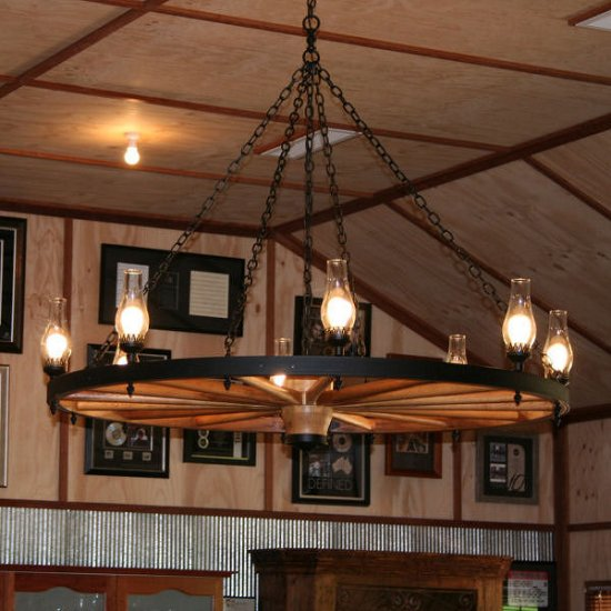Click For Large Image PICTURE 3 1. Wagon Wheel Chandeliers ...